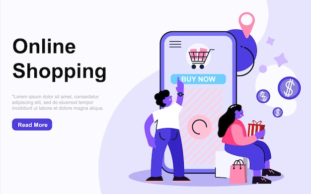 Landing page template online shopping concept with people characters. modern flat design web page design for website and mobile website. illustration