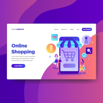 Landing page template of online shopping services