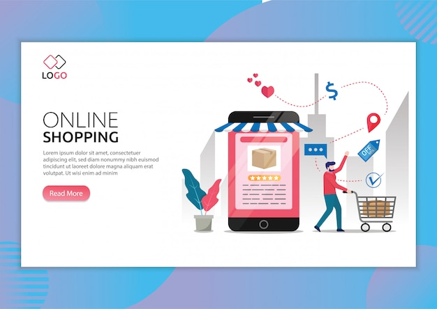 Landing page template of online shopping with man doing shops via phone illustration.