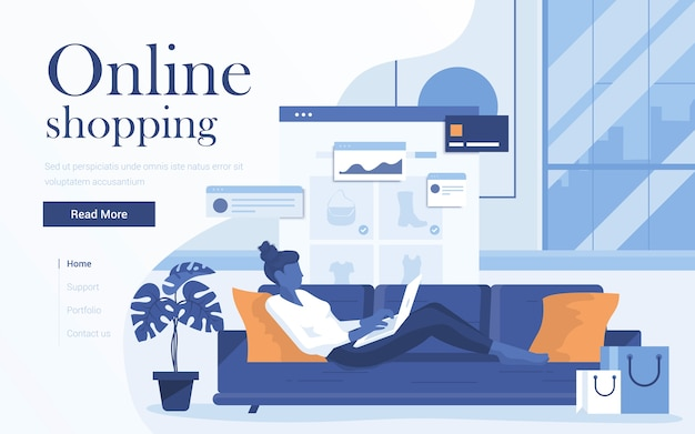 Landing page template of online shopping. young woman with laptop lying on sofa in living room and shop online.     of web page  for website and mobile website.