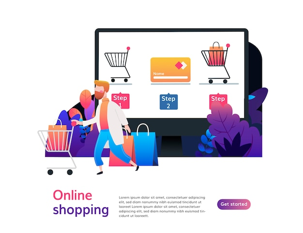 Landing page template of online shopping.