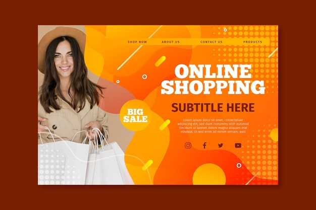 Landing page template for online shopping