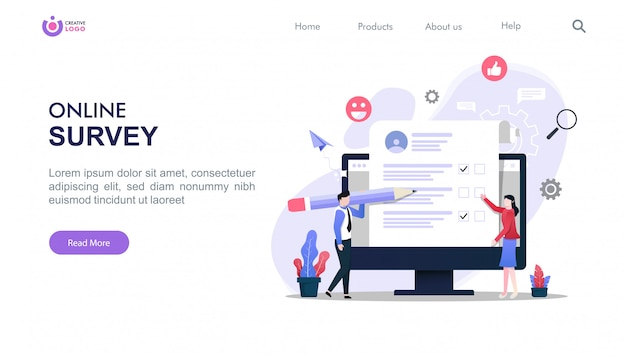 Landing page template of online survey concept with characters illustration.