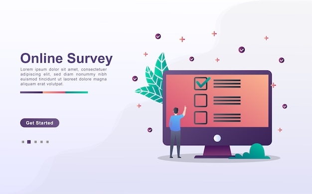 Landing page template of online survey
