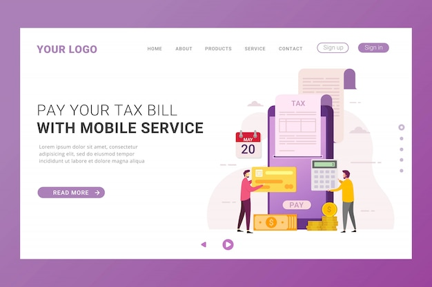 Landing page template online tax payment