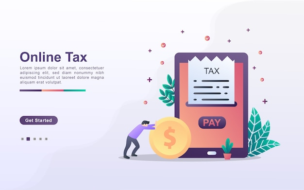 Landing page template of online tax
