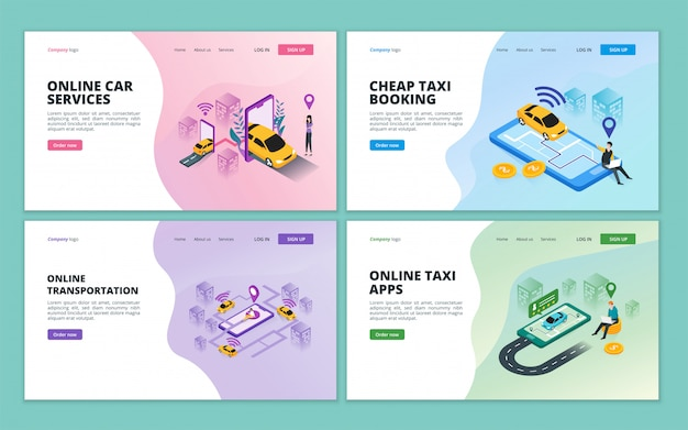Landing page template of online taxi, car sharing service, online city transportation for website and mobile website development