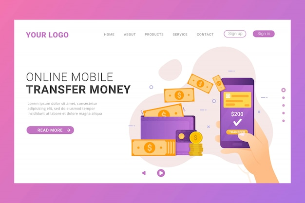 Landing page template online transfer money