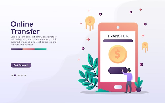 Landing page template of online transfer