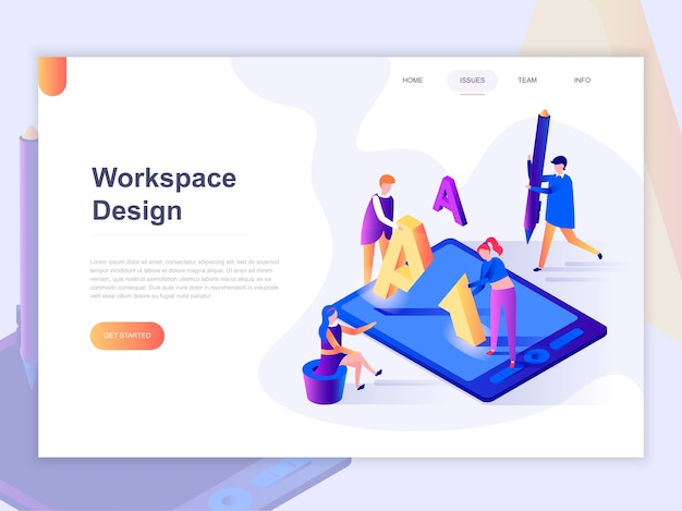 Landing page template of open workspace and coworking.