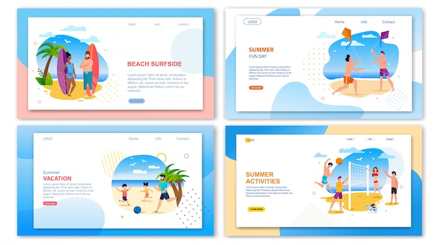 Landing page template pack proposing fun activities on summer holidays