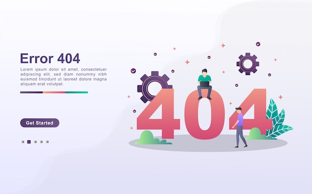 Landing page template of page error in gradient effect style