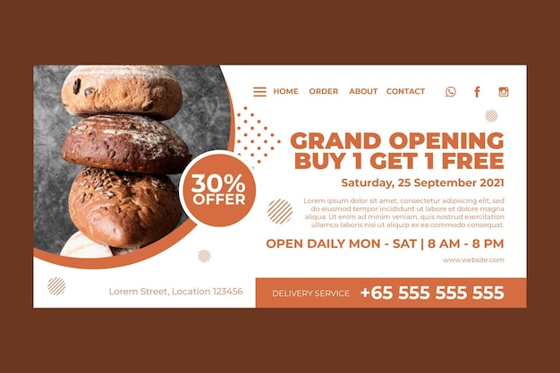 Landing page template for pastry shop