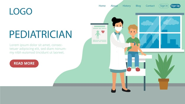 Landing page template of pediatrician
