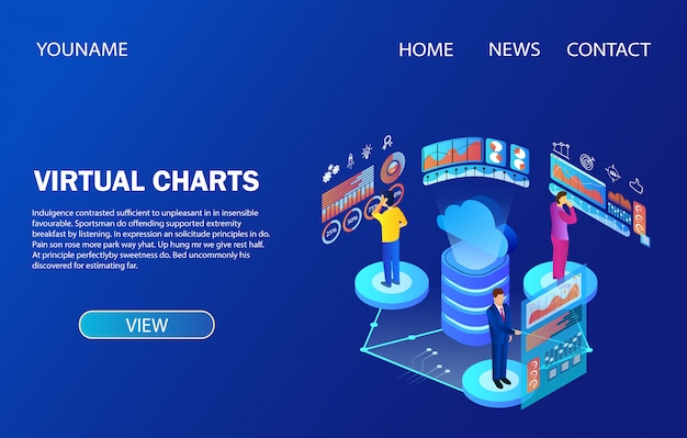 Landing page template. people working with data analysis virtual charts
