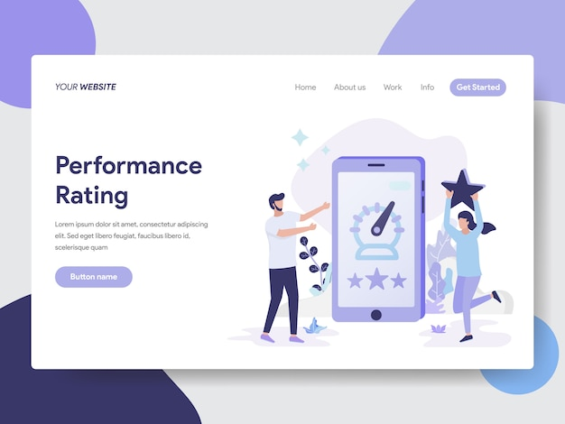 Landing page template of performance rating illustration