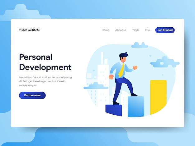 Landing page template of personal development concept