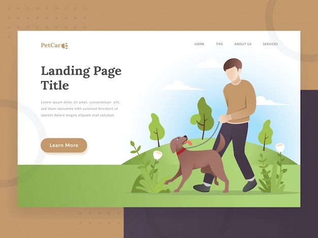 Landing page template of pet care