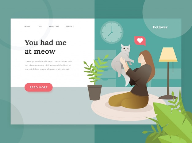 Landing page template of pet lovers
