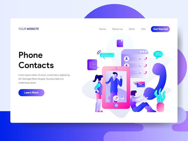 Landing page template of phone contacts illustration