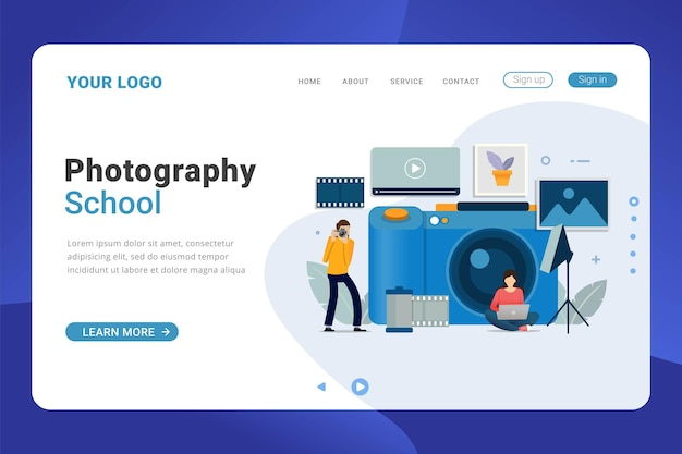 Landing page template photography design concept with big camera
