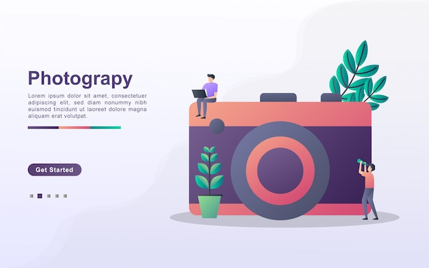 Landing page template of photography in gradient effect style