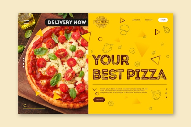 Landing page template for pizza restaurant