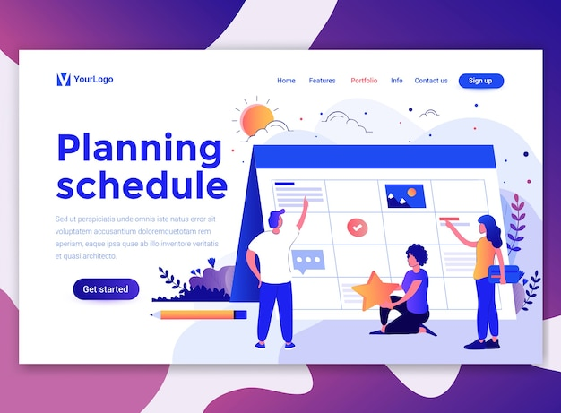 Landing page template of planning schedule