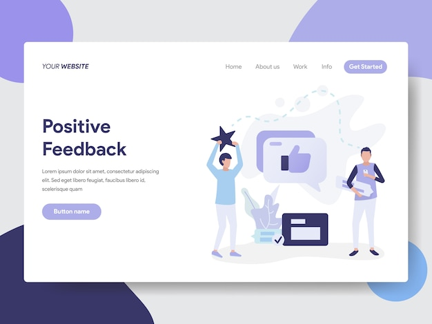 Landing page template of positive feedback illustration concept