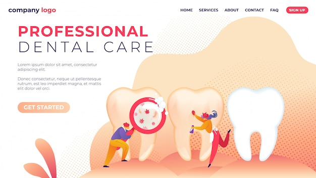Landing page template. professional dental care flat.
