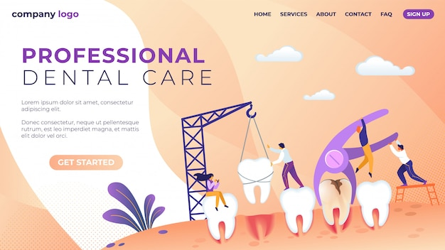 Landing page template for professional dental care