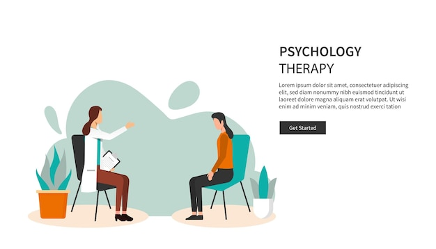 Landing page template of psychology therapy concept.