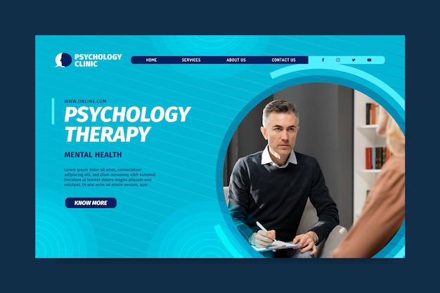 Landing page template for psychology therapy
