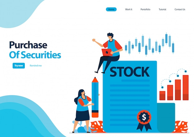 Landing page template of purchase of securities and bonds. investment in securities. proof of documents of debt securities and shares.