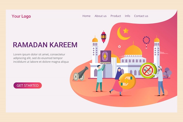 Landing page template ramadan kareem with small people
