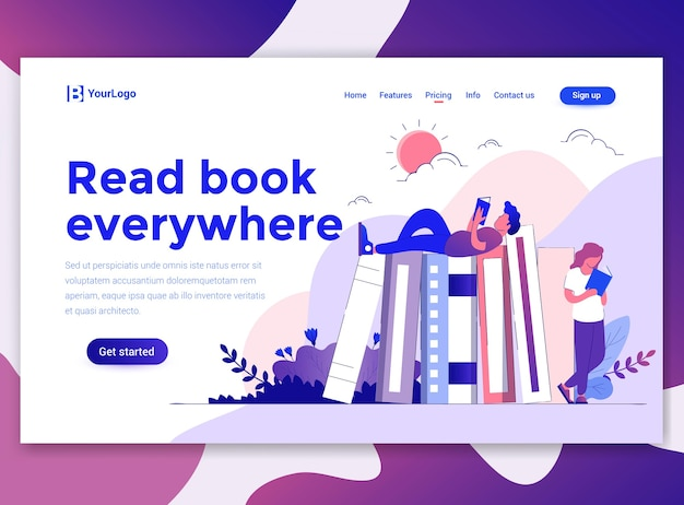 Landing page template of read book everywhere