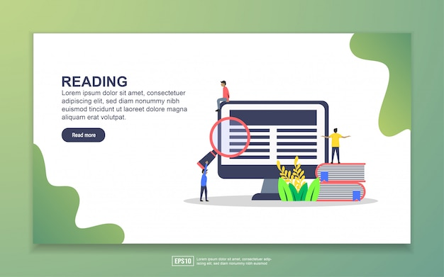 Landing page template of reading