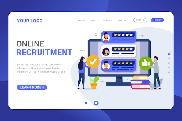 Landing page template recruitment process design concept