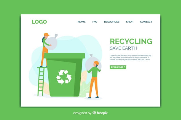 Landing page template of recycling