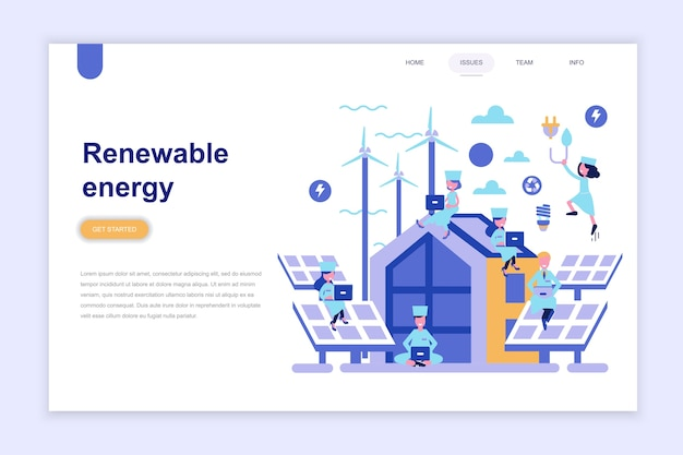 Landing page template of renewable energy