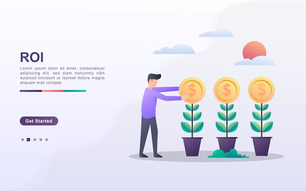 Landing page template of return on investment in gradient effect style