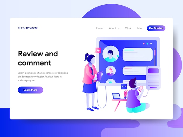Landing page template of review and comment design