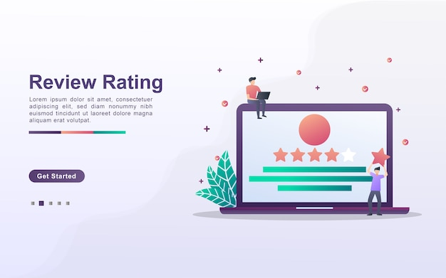 Landing page template of review rating