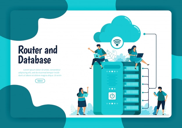 Landing page template of router and database service. wifi network and infrastructure for internet connection and safe access. illustration of landing page, website, mobile apps, poster, flyer