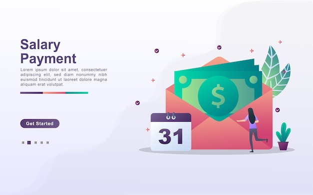 Landing page template of salary payment