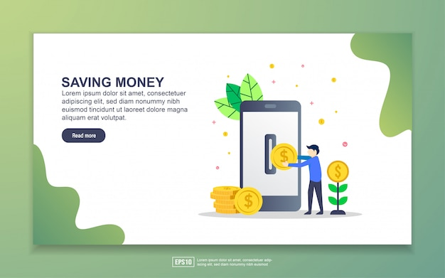 Landing page template of saving money. modern flat design concept of web page design for website and mobile website.