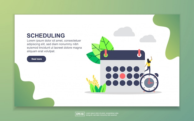 Landing page template of scheduling