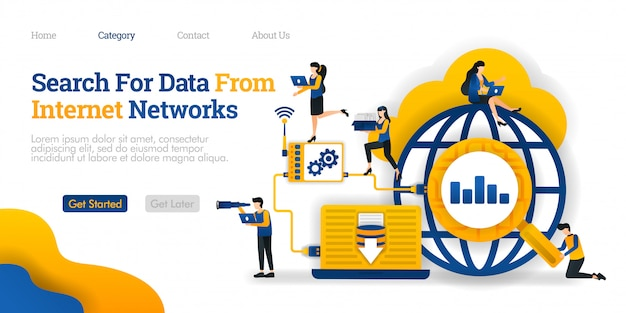 Landing page template. search for data from internet network. analyze data search results to save to database
