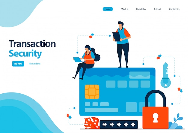 Landing page template of secure transactions using credit cards and banking facilities. security with a password lock.