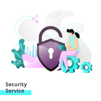 Landing page template of security service
